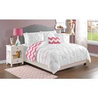 VCNY Home White Kara Pintuck Reversible Chevron Bedding Comforter Set, Decorative Pillows Included