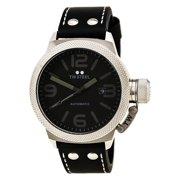 b78edfae08b TWA200 Men s Canteen Black Leather Strap Black Dial Automatic Watch