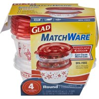 (2 pack) Glad Food Storage Containers, MatchWare Round, Two 16-oz, Two 32-oz
