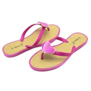 f1687b80a2bc Sara Z Womens Big Hearted Jelly Thong Flip Flop Sandal Size 5 6 Fuchsia