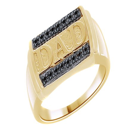 Dad White Ring (Black Natural Diamond Accent