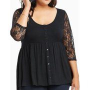 Women Lace Sleeves Plus size Shirt and Blouse Black
