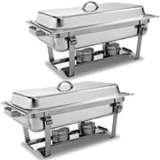 2 Packs Chafing Dish 9 Quart Stainless Steel Rectangular Chafer Full Size Buffet