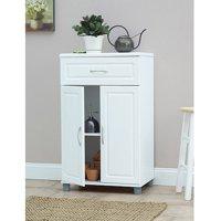 """SystemBuild 23.4""""W x 15.4""""D x 38.3""""H 1 Drawer / 2 Door Base Storage Cabinet, White"""