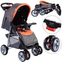 Costway Foldable Baby Kids Travel Stroller Newborn Infant Buggy Pushchair Child Gray