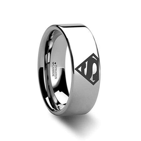 Thorsten Superman Symbol | Tungsten Rings for Men | Tungsten | Comfort Fit | Lifetime Guarantee | Polished Tungsten Engraved Super Hero Wedding Ring Band - Superhero Wedding Bands