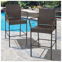 Best Choice Products Wicker Outdoor Bar Stools - Brown - Set of 2
