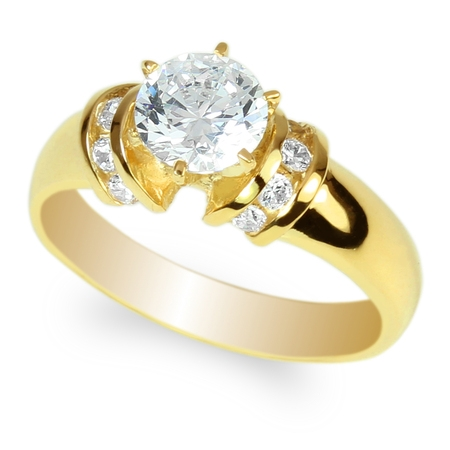 Womens Yellow Gold Plated Round CZ Engagement & Wedding High Polished Solid Solitaire Ring Size (Rose Gold Plated Tiffany Solitaire)