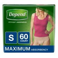 Depend FIT-FLEX Incontinence Underwear for Women, Maximum Absorbency, S, Tan 60 ct