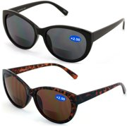 fdd975e88544 V.W.E. 2 Pairs Women Bifocal Reading Sunglasses Reader Glasses Cateye  Vintage Jackie O Black Brown