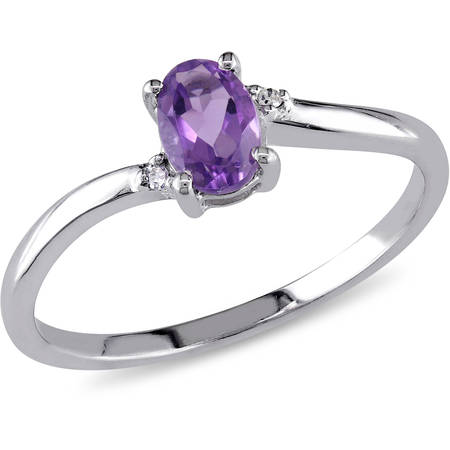 3/8 Carat T.G.W. Amethyst and Diamond-Accent 10kt White Gold Bypass Ring - Gold Amethyst Bypass Ring