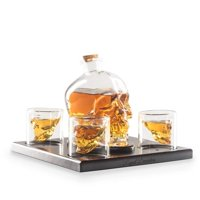 Royal Decanters Skull Shaped Glass Whiskey and Liquor Decanter Gift Set