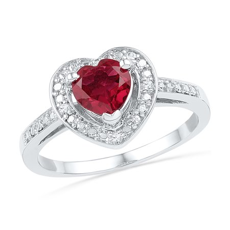 Simulated Diamond Wedding Band Ring (Size - 7 - Solid 925 Sterling Silver Heart Round Red Simulated Ruby And White Diamond Engagement Ring OR Fashion Band Prong Set Solitaire Shaped Halo Ring (.03 cttw) )