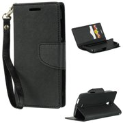 Insten Folio Leather Wallet Fabric Phone Case Lanyard with Card slot For  Alcatel One Touch Pop 88cbc65096f5d