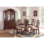 Formal Traditional Dining Room 5pc Set Cherry Wood Finish Round Table Accent Fl Pattern