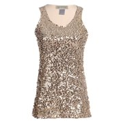 accf266619b Anna-Kaci Womens Gold Beaded Sequins Slim Fit Sparkly Embellished Vest Tank  Top, Small