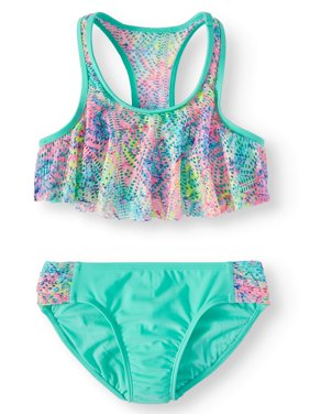 Tie Dye Flounce Bikini Swimsuit (Little Girls & Big Girls)