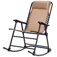 Costway Folding Zero Gravity Rocking Chair Rocker Porch Outdoor Patio Headrest Beige