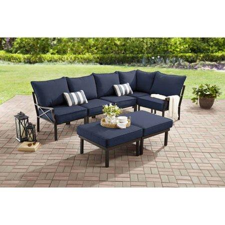 Mainstays Sandhill 7 Piece Outdoor Sofa Sectional Set
