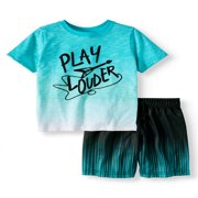 Toddler Boys' Graphic T-Shirt and Print Mesh Athletic Shorts, 2-Piece Outfit Set