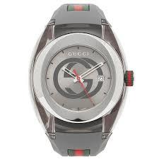 Unisex Grey Swiss Sync Striped Rubber Strap Watch