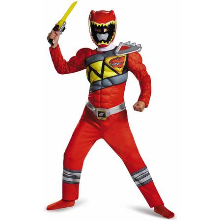 Red Power Ranger Dino Charge Classic Muscle Child Halloween Costume - Little Red Riding Halloween Costumes
