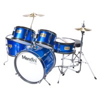 """Mendini by Cecilio 16"""" 5-Piece Complete Kids / Junior Drum Set with Adjustable Throne, Cymbal, Pedal & Drumsticks, Metallic Blue, MJDS-5-BL"""