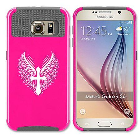 Cross Galaxy (Samsung Galaxy S7 Shockproof Impact Hard Case Cover Cross Wings Christian (Hot Pink-Grey)