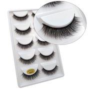 8452d095eff Fashion 5 Pairs Pack 3D Mink False Eyelashes Wispy Cross Long Thick Soft  Fake Eye Lashes