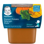 Gerber 2nd Foods Sweet Potato Mango Kale Baby Food, 2-4 oz. Tubs