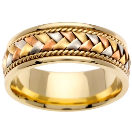 - 18K Tri Color Gold Basket Braid Handmade Comfort Fit Women's Wedding Band (8.5mm)