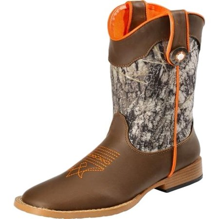 Cowboy Brown Boots (Double Barrel Western Boots Boys Buck Shot Cowboy Kids Brown 44518222)
