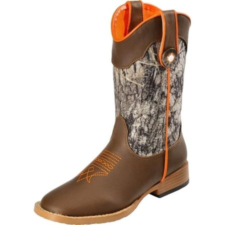 Double Barrel Western Boots Boys Buck Shot Cowboy Kids Brown