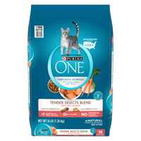 Purina ONE Tender Selects Blend With Real Salmon Adult Dry Cat Food, 16 lb