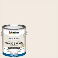 ColorPlace Pre Mixed Ready To Use, Interior Paint, Antique White, Semi-Gloss, 1 Gallon