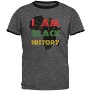 0d56c7e9b I am Black History Africa Distressed Mens Ringer T Shirt