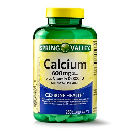 Spring Valley Calcium plus Vitamin D Coated Tablets, 600 mg, 250 (Calcium Refill)