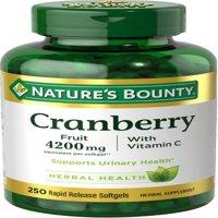 Nature's Bounty Cranberry Fruit Plus Vitamin C Herbal, 4200mg Softgels, 250ct