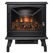 "AKDY FP0084 20"" Black Freestanding Electric Fireplace 3D Flames Firebox Heater w/ Logs"