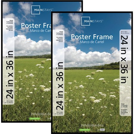 Mainstays 24x36 Basic Poster & Picture Frame, Black, Set of 2 (Holiday Photo Frames)
