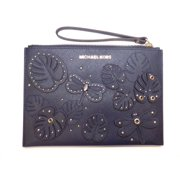 af795f463ca394 NEW MICHAEL KORS JET SET XL ZIP CLUTCH NAVY BLUE DRAGONFLY LEATHER WRISTLET
