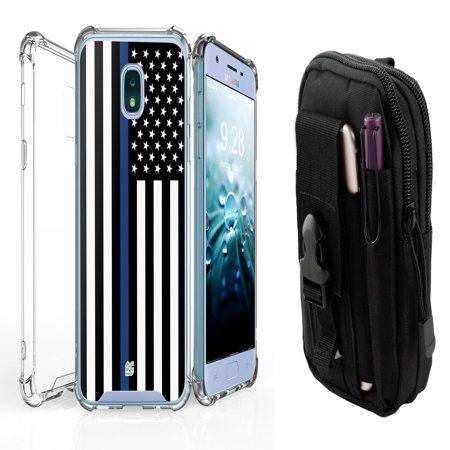 AquaFlex Shock Bumper Design Protection Phone Cover Case (Thin Blue Line Flag) with Tactical EDC MOLLE Waist Bag Holder Pouch and Atom Cloth for Samsung Galaxy J7, J7 V 2nd Gen 2018](Flag Holder Case)