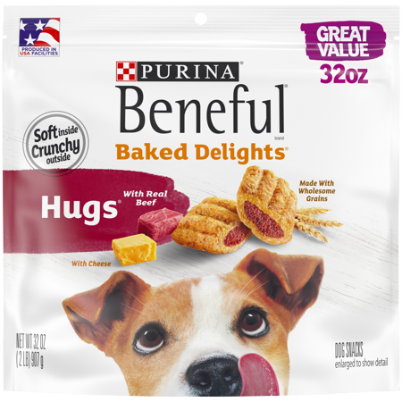 Delight Dog Bows (Purina Beneful Dog Treats; Baked Delights Hugs With Real Beef & Cheese - 32 oz.)