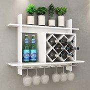 Gymax Wall Mount Wine Rack w  Glass Holder   Storage Shelf Organizer Home  Decor White 4b1247ce2f6a
