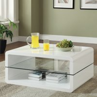 Coaster Modern Contemporary Coffee table, Glossy White Finish