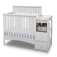 Delta Children Presley Convertible Crib N Changer, Bianca White