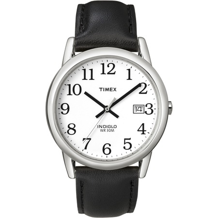 Patent Leather Watch (Men's Easy Reader Watch, Black Leather)