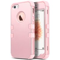 iPhone SE Case,ULAK iPhone 5S Case, 3 in 1 PC+Silicone Hybrid Shock-Absorbing Anti-slip Cover for iPhone 5 5S SE, Rose gold + Rose gold