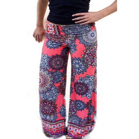 Women Yoga Boho Hippie Stretch Flare Loose Palazzo Pants Floral Long (Stretch Vintage Trousers)