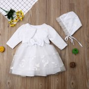 47b9748c0 3Pcs Baby Girls Princess Dress White Lace Christening Wedding Party Dresses  Ball Gown Clothes Hat 0